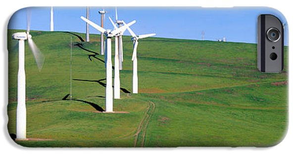Agricultural iPhone Cases - Wind Energy Windmills Along Route 580 iPhone Case by Panoramic Images
