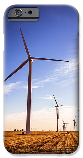 Indiana Landscapes iPhone Cases - Wind Energy Windmills Picture iPhone Case by Paul Velgos