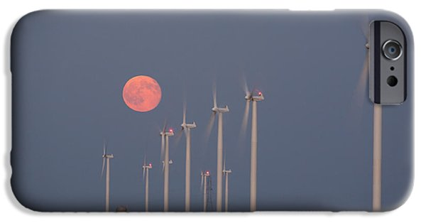 Electrical Equipment iPhone Cases - Wind Farm Moonrise iPhone Case by Alexey Stiop