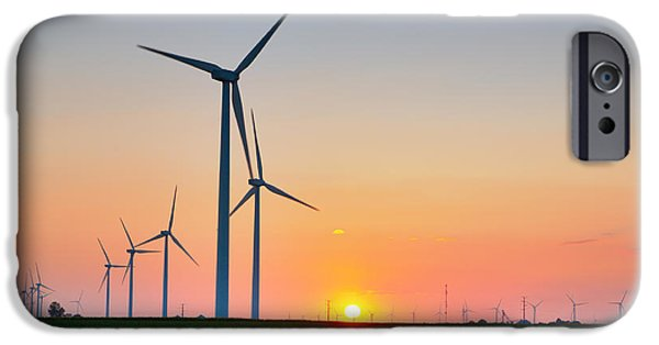 Electrical Equipment iPhone Cases - Wind Farm Sunset iPhone Case by Alexey Stiop