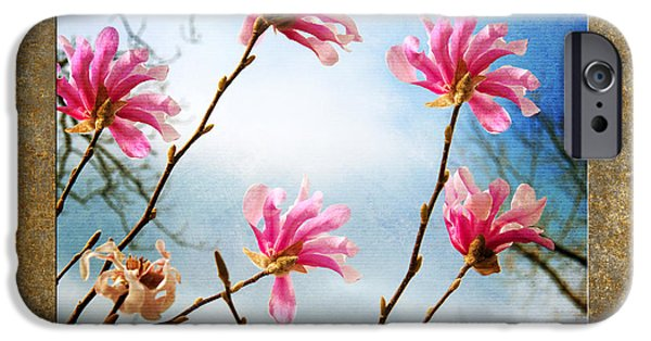 Springtime In The Park iPhone Cases - Wind In The Magnolia Tree Square iPhone Case by Andee Design