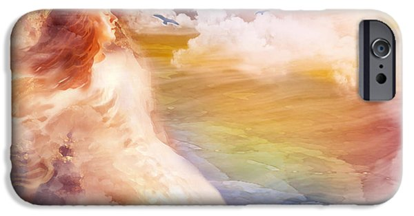 Spiritual Portrait Of Woman iPhone Cases - Wind of His Glory iPhone Case by Jennifer Page