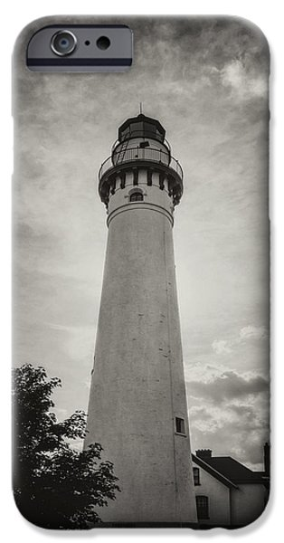 Marine iPhone Cases - Wind Point Lighthouse Silhouette in Black and White iPhone Case by Joan Carroll