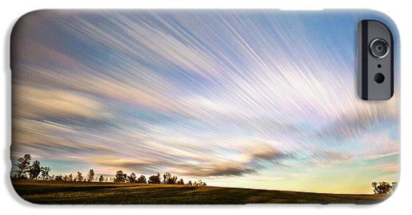 Field. Cloud Digital Art iPhone Cases - Wind Stream Streaks iPhone Case by Matt Molloy
