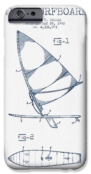 Surfing iPhone Cases - Wind Surfboard patent drawing from 1982  -  Blue Ink iPhone Case by Aged Pixel