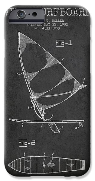 Surfboards iPhone Cases - Wind Surfboard patent drawing from 1982 - Dark iPhone Case by Aged Pixel
