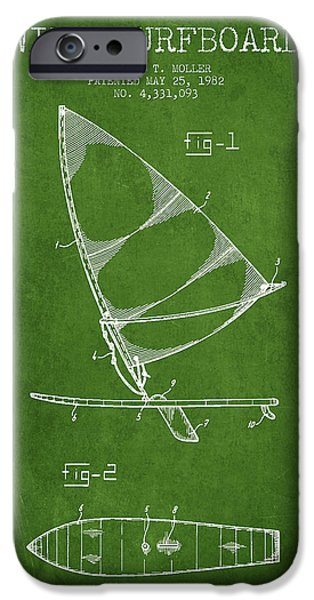 Surfboards iPhone Cases - Wind Surfboard patent drawing from 1982 - Green iPhone Case by Aged Pixel