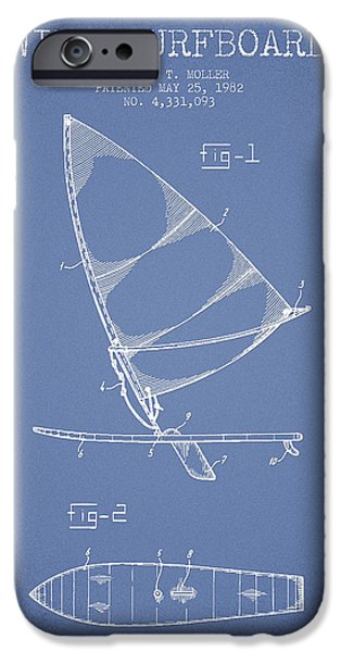 Surfboards iPhone Cases - Wind Surfboard patent drawing from 1982 - Light blue iPhone Case by Aged Pixel