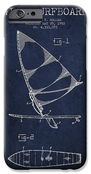 Surfboards iPhone Cases - Wind Surfboard patent drawing from 1982 - Navy Blue iPhone Case by Aged Pixel