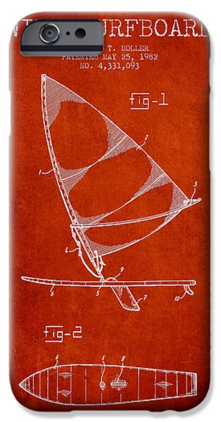 Surfboards iPhone Cases - Wind Surfboard patent drawing from 1982 - Red iPhone Case by Aged Pixel