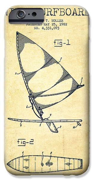 Surfboards iPhone Cases - Wind Surfboard patent drawing from 1982 - Vintage iPhone Case by Aged Pixel
