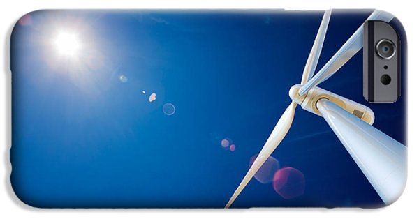 Industry Digital Art iPhone Cases - Wind Turbine and sun  iPhone Case by Johan Swanepoel