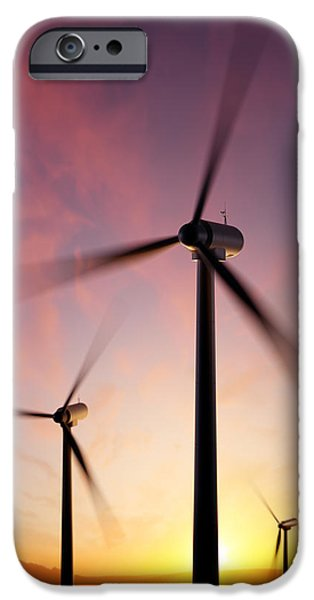 Industry Digital Art iPhone Cases - Wind Turbine blades spinning at sunset iPhone Case by Johan Swanepoel