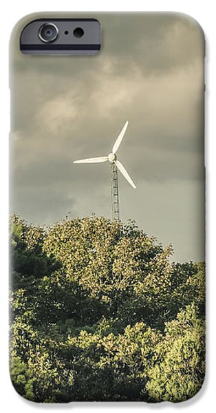 United iPhone Cases - Wind turbine Falmouth Cape Cod MA iPhone Case by Marianne Campolongo