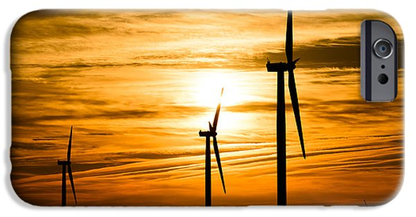 Technology iPhone Cases - Wind Turbine Farm Picture Indiana Sunrise iPhone Case by Paul Velgos