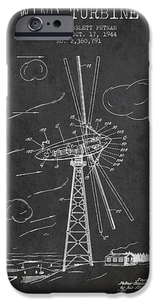 Turbines iPhone Cases - Wind Turbine Patent from 1944 - Dark iPhone Case by Aged Pixel