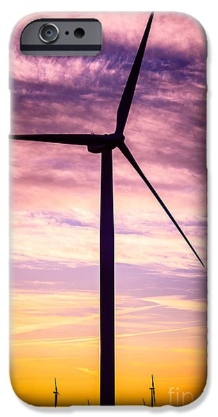 Indiana Landscapes iPhone Cases - Wind Turbine Picture on Wind Farm in Indiana iPhone Case by Paul Velgos