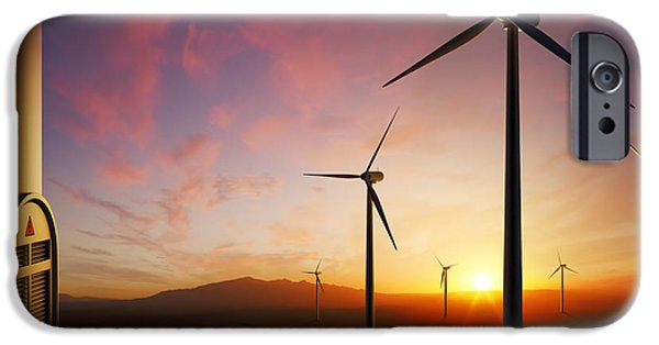 Industry Digital Art iPhone Cases - Wind Turbines at sunset iPhone Case by Johan Swanepoel