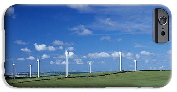 Power iPhone Cases - Wind Turbines In A Farm, Newlyn Downs iPhone Case by Panoramic Images