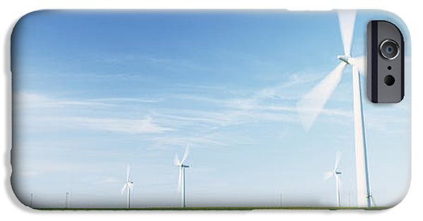 Power iPhone Cases - Wind Turbines In A Field, Easington iPhone Case by Panoramic Images