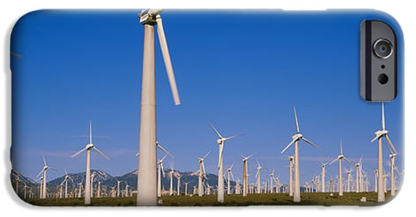 Power iPhone Cases - Wind Turbines In A Field, Mojave iPhone Case by Panoramic Images