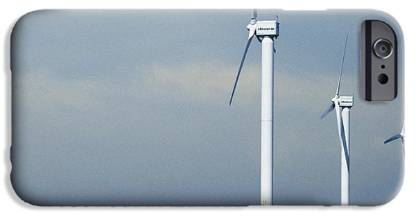 Agriculture iPhone Cases - Wind Turbines In A Rapeseed Field iPhone Case by Eddie Lawrence