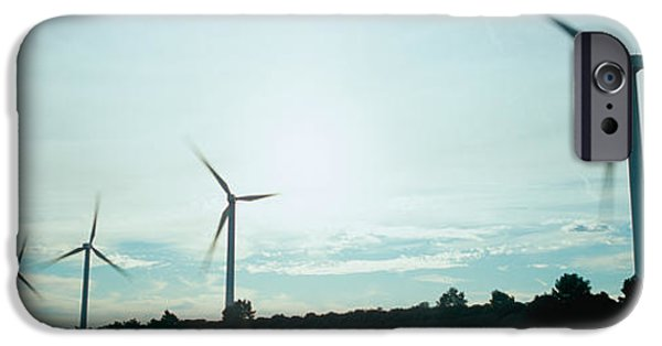 Power iPhone Cases - Wind Turbines In Motion At Dusk iPhone Case by Panoramic Images