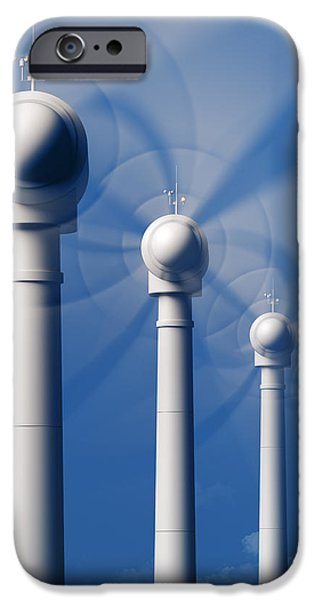 Industry Digital Art iPhone Cases - Wind Turbines in motion from the front iPhone Case by Johan Swanepoel