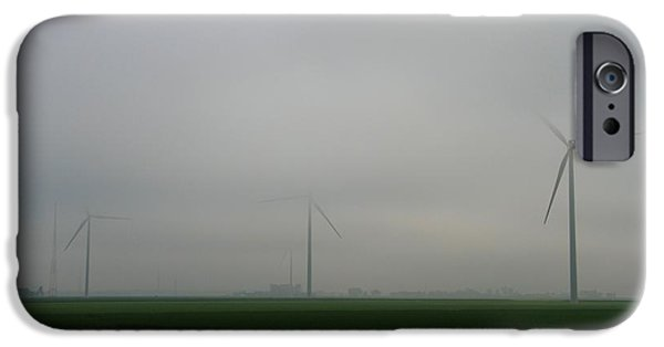 Electrical iPhone Cases - Wind Turbines In The Fog iPhone Case by Dan Sproul