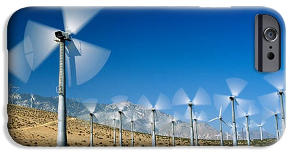 Power iPhone Cases - Wind Turbines Spinning In A Field, Palm iPhone Case by Panoramic Images