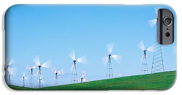 Technology iPhone Cases - Wind Turbines Spinning On Hills iPhone Case by Panoramic Images