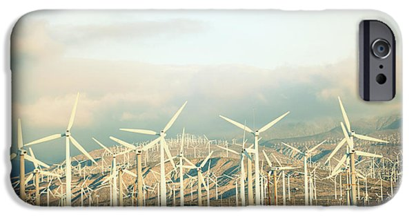 Fuel And Power Generation iPhone Cases - Wind Turbines With Mountains iPhone Case by Panoramic Images