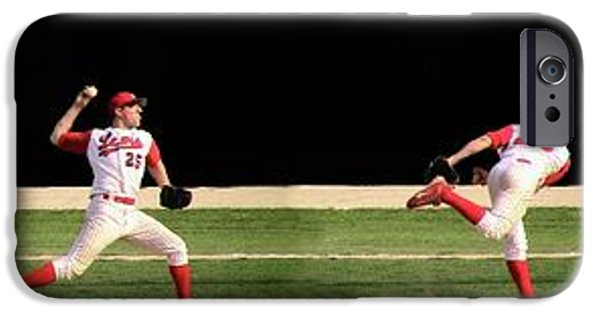 Baseball Glove iPhone Cases - Wind Up And Delivery 4 Panel Composite Digital Art iPhone Case by Thomas Woolworth