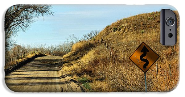 Nebraska iPhone Cases - Winding Country Road iPhone Case by Bill Kesler
