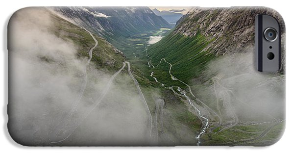 Norway iPhone Cases - Winding through the clouds iPhone Case by Catalin Tibuleac