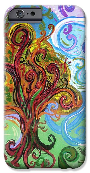 Healing Posters iPhone Cases - Winding Tree iPhone Case by Genevieve Esson