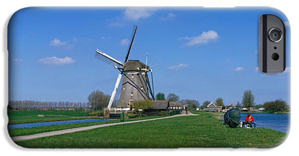 Power iPhone Cases - Windmill And Canals Near Leiden The iPhone Case by Panoramic Images