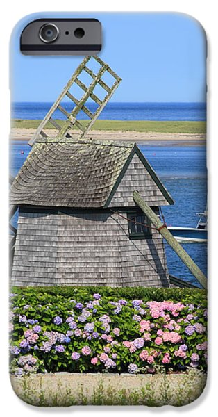 Chatham iPhone Cases - Windmill and Hydrangeas Chatham Waterfront Cape Cod iPhone Case by John Burk