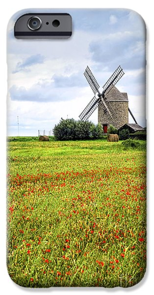 Meadow Photographs iPhone Cases - Windmill and poppy field in Brittany iPhone Case by Elena Elisseeva