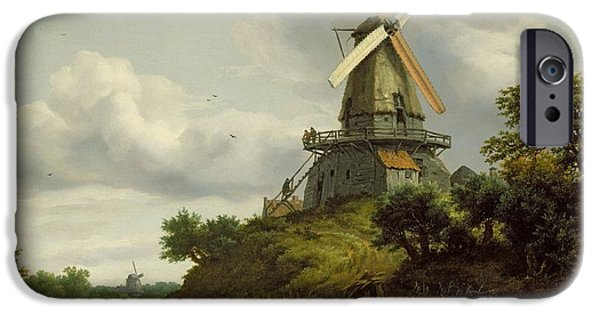 Rural iPhone Cases - Windmill By A River Oil On Canvas iPhone Case by Jacob Isaaksz. or Isaacksz. van Ruisdael