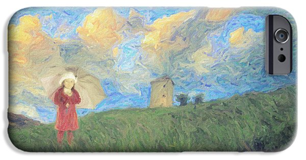 Bob Ross Paintings iPhone Cases - Windmill girl iPhone Case by Taylan Soyturk