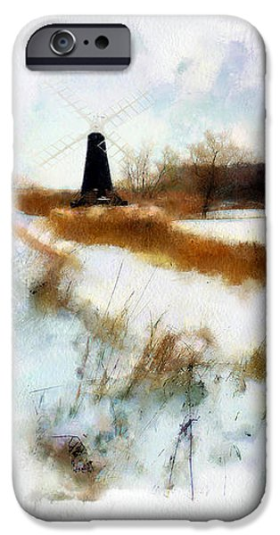 Windmill in the snow iPhone Case by Valerie Anne Kelly