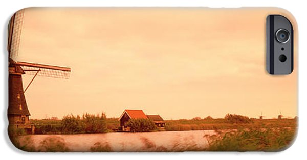 Farm Building iPhone Cases - Windmill, Kinderdigk, Netherlands iPhone Case by Panoramic Images