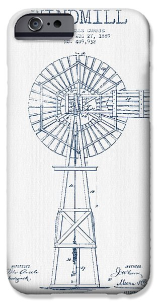 Windmills iPhone Cases - Windmill Patent Drawing From 1889 - Blue Ink iPhone Case by Aged Pixel
