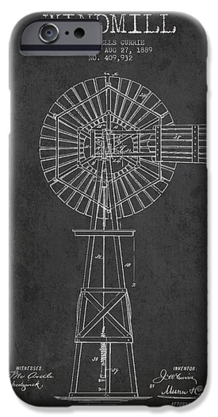 Windmills iPhone Cases - Windmill Patent Drawing From 1889 - Dark iPhone Case by Aged Pixel