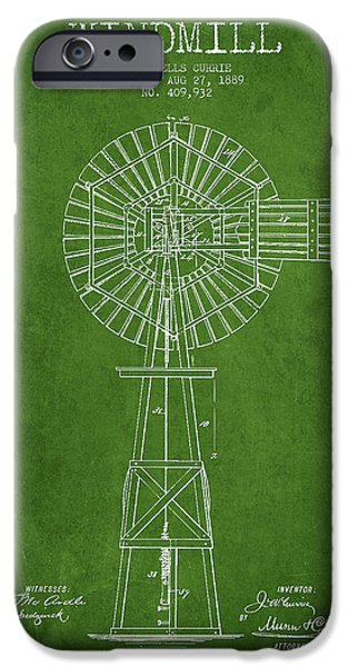 Windmills iPhone Cases - Windmill Patent Drawing From 1889 - Green iPhone Case by Aged Pixel