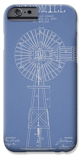 Windmills iPhone Cases - Windmill Patent Drawing From 1889 - Light Blue iPhone Case by Aged Pixel