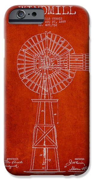 Windmills iPhone Cases - Windmill Patent Drawing From 1889 - Red iPhone Case by Aged Pixel