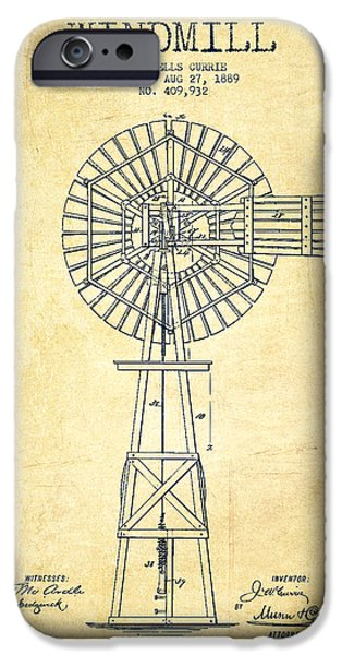 Windmills iPhone Cases - Windmill Patent Drawing From 1889 - Vintage iPhone Case by Aged Pixel