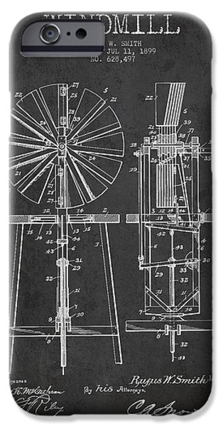 Windmills iPhone Cases - Windmill Patent Drawing From 1899 - Dark iPhone Case by Aged Pixel